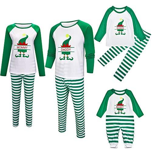TLLW Coincidencia de Navidad Pijamas Familia de Navidad Pijamas Conjunto Mamá Papá Pequeño Equipo Elfo Fiesta de Navidad Pijamas Familia de Navidad Pijamas