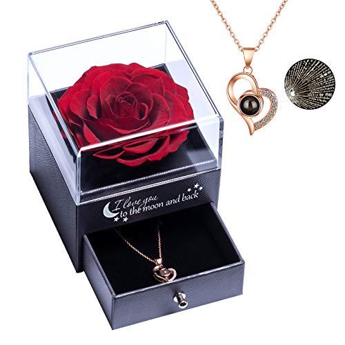 Rosa reale conservata Rosa eterna fatta a mano con collana Love You Regalo in 100 lingue, fiore rosa reale incantato per San Valentino Anniversario Matrimonio Compleanno Regali romantici per lei
