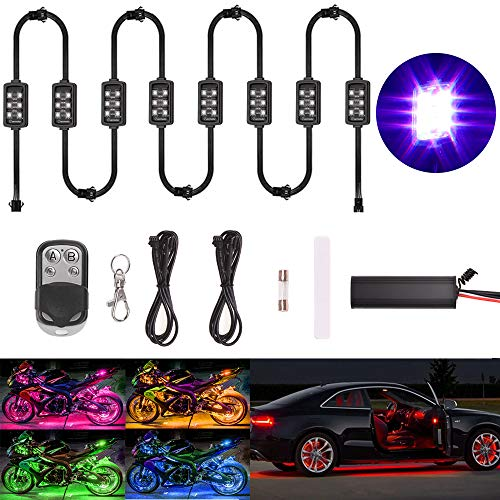 Evermotor Auto Motorrad Unterbodenbeleuchtung 8 Stücke 6 x LED Streifen Atmosphäre Leichter Kits Wireless Fernbedienung Motorrad Multi Farbe Neon RGB Lampe Atemmodus Bodeneffekt