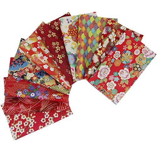 10 piezas Tela algodón Telas Japonés Bronceadora Estampada Patchwork 20 x 25 cm Rectangular Algodón Para Coser DIY Telas Decorativas Costura Retales Tela Quilting Scrapbooking (Rojo)