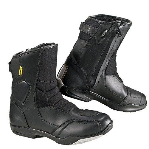 Shima SX-5 Men, Herren Vintage Retro Road Sportstiefel aus Leder Motorradstiefel (41-46), Schwarz, Größe 46