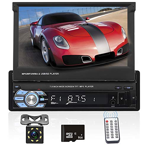 Podofo Autoradio 1 Din Touch Screen HD 7 Pollici, Navigation GPS Stereo per Auto, Bluetooth Auto Stereo MP5 Lettore supporto FM/AUX/USB/TF card + Rear View Fotocamera + telecomando