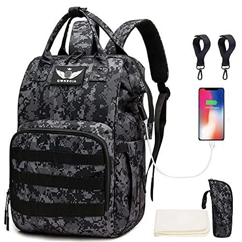 Diaper Bag Backpack with USB Charging Port Stroller Straps and Insulated Pocket, Tactical Advantage Travel Baby Bag Nappy Backpack for Dad/Boy/Mom/Girl/Toddler, Black Camo by Qwreoia