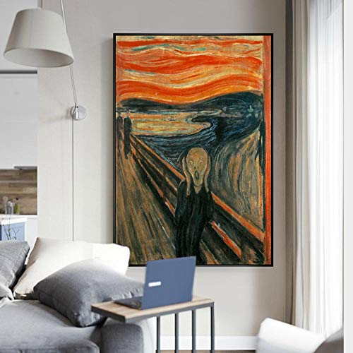 VGSD® Carteles De Pared Clásicos De Scream, Pinturas De Arte De Lona Famosas De Edvard Munch The Scream, Decoración Abstracta del Hogar De Cuadros 50 * 70 Cm