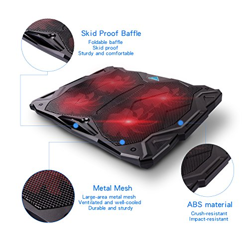 Tenswall Laptop Cooling Pad, Portable Ultra-Slim Quiet Laptop Notebook Cooler Cooling Pad Stand with 4 USB Powered Fans, Fits 11-17 Inches