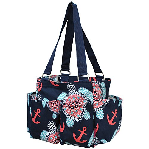 Sea Turtle Anchor Print NGIL Small Zippered Caddy Organizer Tote Bag