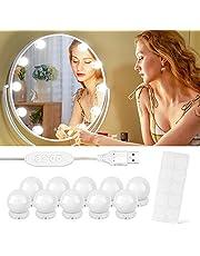 Led-spiegellamp, make-uptafelverlichting met 3 kleurmodi en 10 helderheidsniveaus, Hollywood-stijl spiegellamp voor make-upspiegel, make-uptafel, badkamerspiegel (10 led)