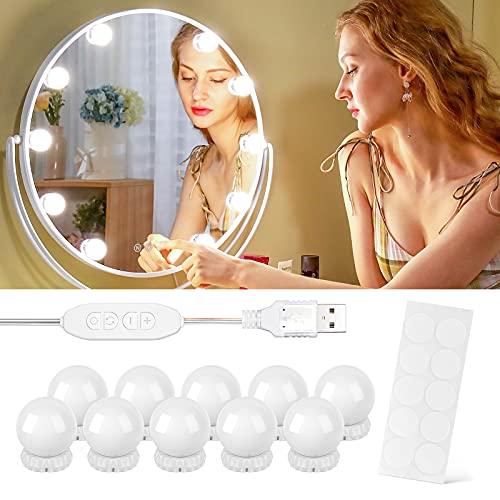 Luces para Espejo de Maquillaje, 10 Luces de Espejo de Tocador con 10 Cintas Autoadhesivas y Interfaz USB, Luces Tocador Maquillaje de 10 Niveles de Brillo y 3 Modos de Luz, Luces Tocador para Espejo