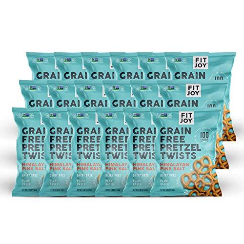 FitJoy Grain Free Gluten Free Pretzels, Himalayan Pink Salt Twists, Grain Free, 100 Calories, 18 Pack