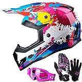 GLX Unisex-Child GX623 DOT Kids Youth ATV Off-Road Dirt Bike Motocross Helmet Gear Combo Gloves Goggles for Boys & Girls (Graffiti Pink, Large)