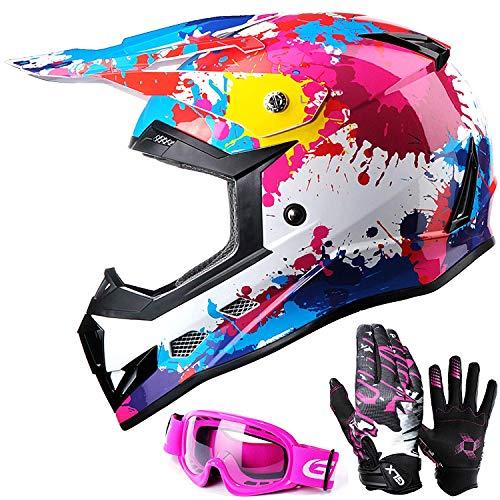 GLX Unisex-Child GX623 DOT Kids Youth ATV Off-Road Dirt Bike Motocross Helmet Gear Combo Gloves Goggles for Boys & Girls (Graffiti Pink, Medium)