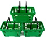 Pack of 10 Plastic 2 Handle Shopping Baskets (Retail Shop Use). Green.