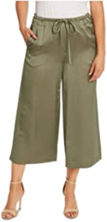 Vince Camuto Liquid Satin Drawstring Wide-Leg Pants LT SAGE Small