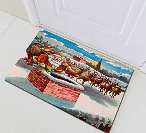 NFDG Xmas Santa Reindeer and Sleigh on the Roof Top Living room bedroom kitchen door main entrance hotel 3D bathroom accessories