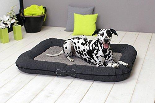 SUN GARDEN Pet Collection Hundekissen Murphy Premium waschbar durch Reißverschluß Farbe: Grau - Größe: L ca. 120x85x17