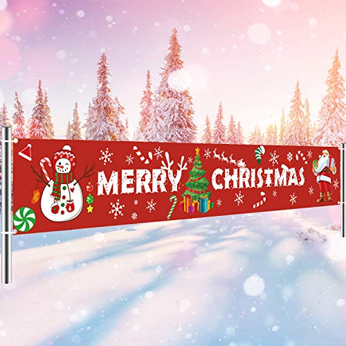 MAIAGO Merry Christmas Banner - Extra Large 10.2 ft x 1.8 ft - Outdoor Red Christmas Banner Decorations - Xmas Indoor & Outdoor Hanging Decor, Christmas Holidays Party Decor Supplies