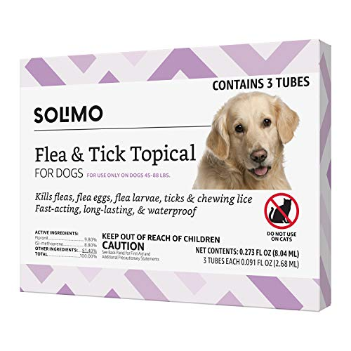 Amazon Brand - Solimo for Dogs Large Dog (45-88 pounds) Flea and Tick Treatment, 3 Doses