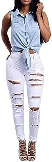 Women Mid Waisted Skinny Hole Denim Jeans Stretch Slim Pants Calf Length Jeans