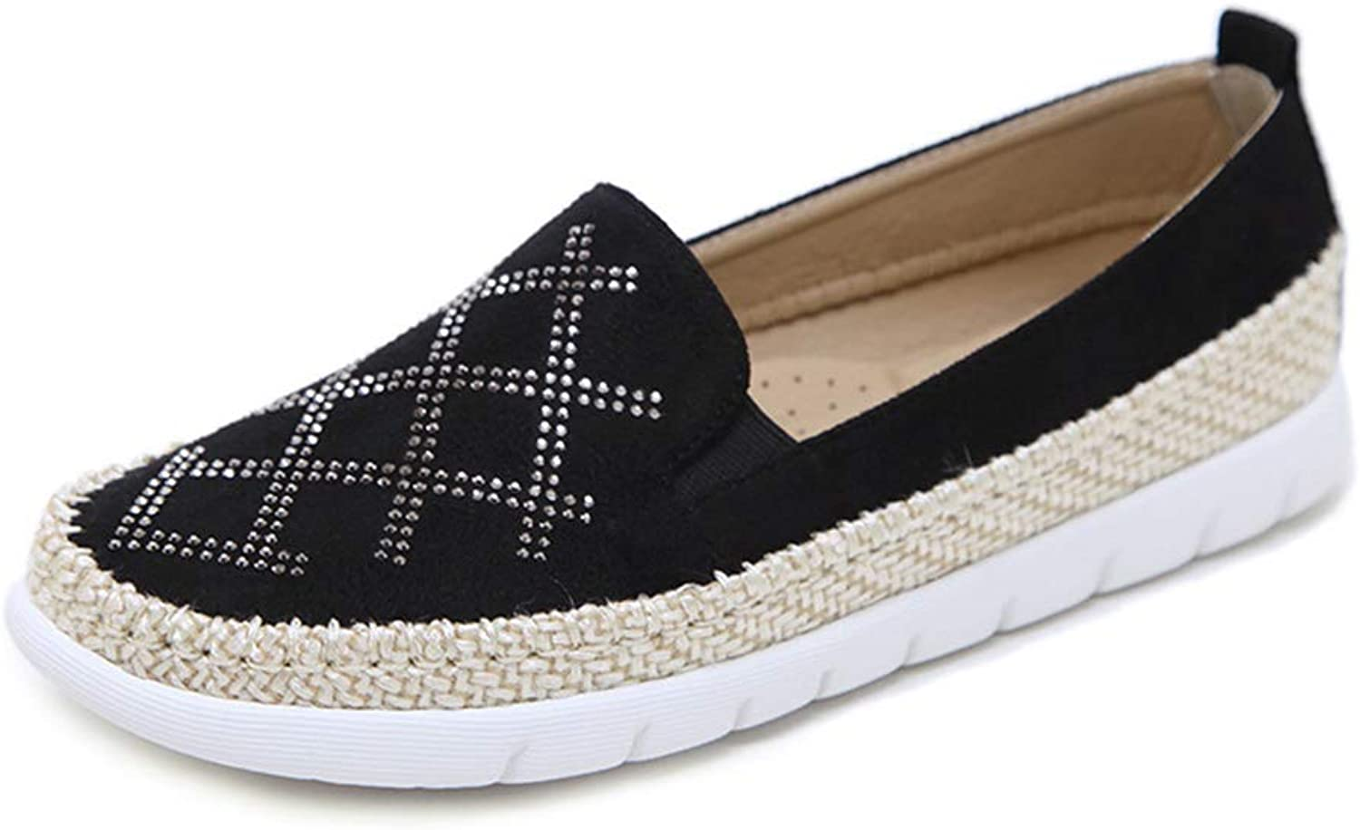 Pophight Casual Loafers Women Rhinestone Hemp Rope Round Toe Flats Black Red Big Size Loafers Fashion Ladies shoes