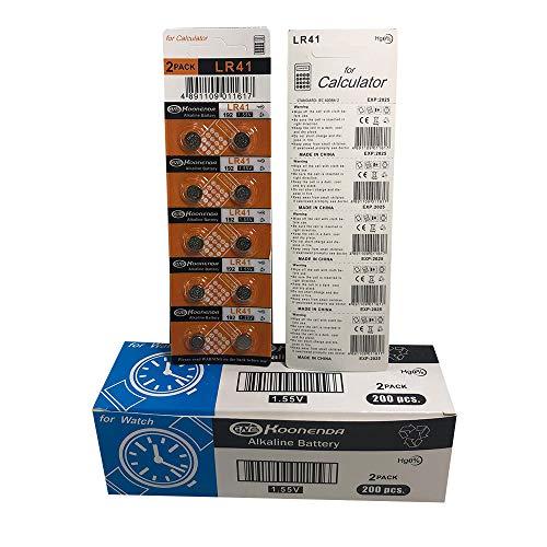 Koonenda AG3 1.5V Alkaline, 20 pcs of LR41 Batteries Coin Battery Equivalent to: 192/384/ 392/ 392A/ AG3/ CX41/ G3/ LR41/ L736/ LR736/ SR41/ SR41SW/ SR41W/ V3GA