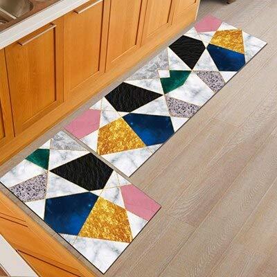 Alfombrilla geométrica para el suelo de la cocina, silla de oficina antideslizante, alfombrilla para el suelo de bienvenida, alfombras para la cocina, baño, alfombra, felpudo A19 40x60cm + 40x120cm