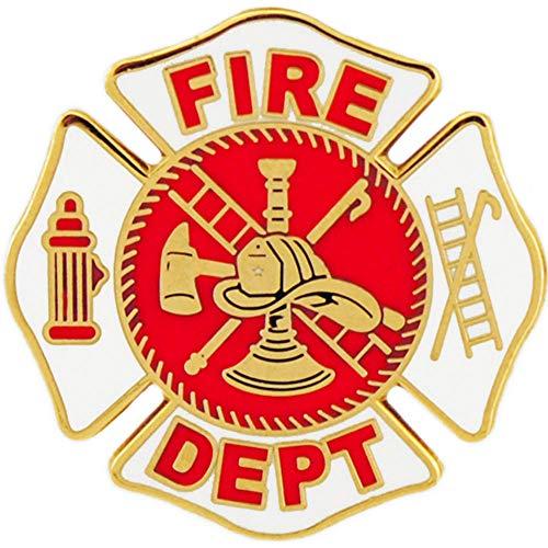 """FIRE & EMS, Fire Department LOGO - Original Artwork, Expertly Designed PIN White - 1"""""""