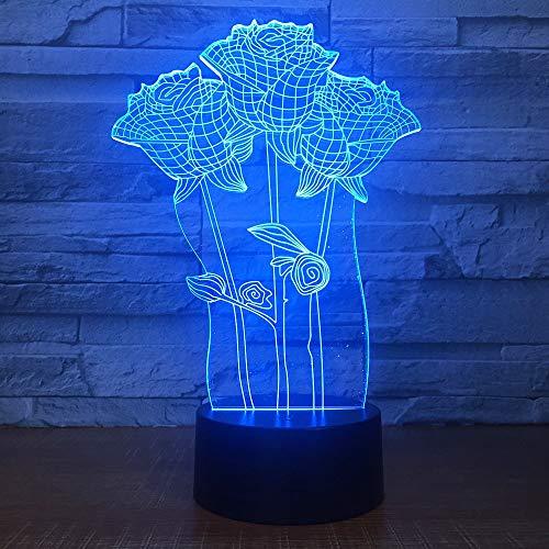 Nndxh Lampe De Table 3D Colorée Rose Cadeau Romantique Pour Les Nouveaux Mariés Valentin Tactile/Interrupteur Tactile Lampe De Table De Chevet Bébé, Cadeau Roman
