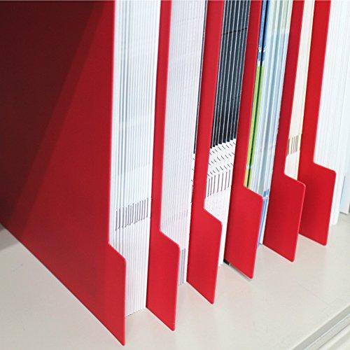 仕切りガイド バーチカル A4 タテ型 仕切り板 書類 ファイル 棚 本棚 引き出し 仕切り 収納 トレー 10枚セット (レッド)