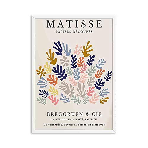 Henri Matisse pintura abstracta minimalismo ilustración impresiones cartel retro beige pintura de lienzo sin marco C 20x30cm