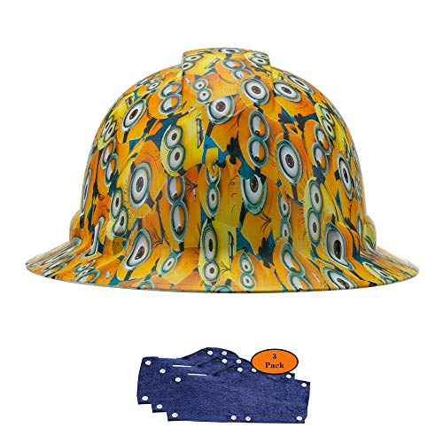 Full Brim Pyramex Hard Hat, Minions Design Safety Helmet 6pt + 3pk Blue Hard Hat Sweatband, by Acerpal