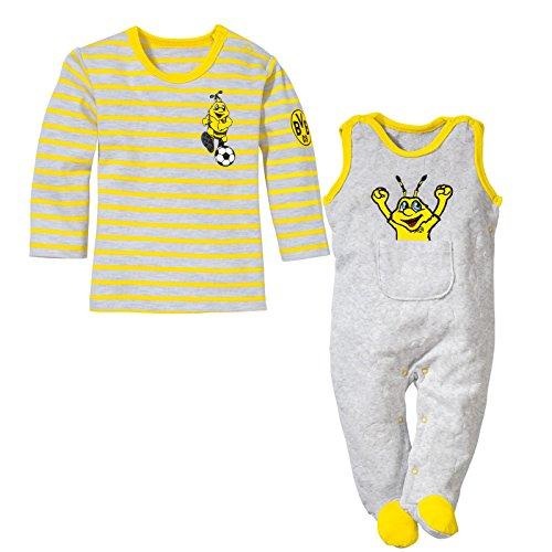 BVB Kinder Babystrampler-set 2-teilig Nicky, hellgrau/gelb, 86, 2466541