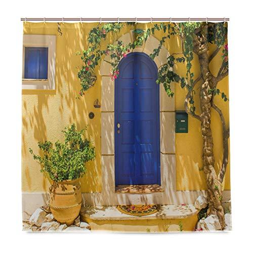 DYCBNESS Duschvorhang,Traditionelle griechische Haustür mit Blumen und Baum mediterrane Landschaft,Vorhang Langhaltig Hochwertig Bad Vorhang Polyester Stoff Wasserdichtes Design,mit Haken 180x180cm