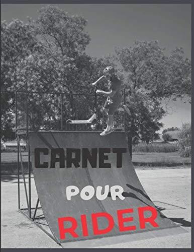 Cahier pour RIDER: Carnet de note avec couverture Tricks de Trottinette Freestyle | Coloris noir blanc rouge | Grand format, 110 pages lignées