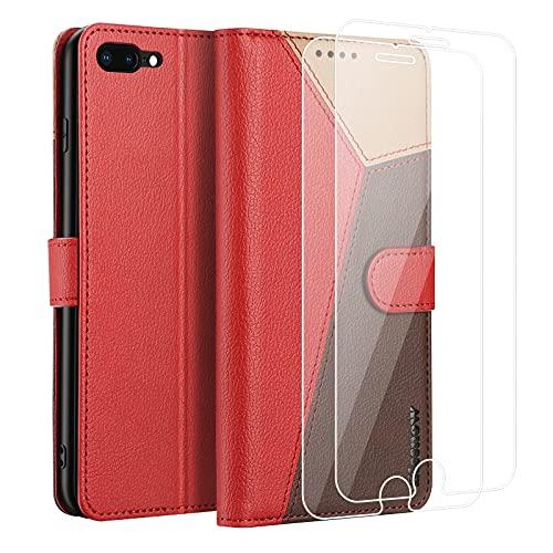 ELESNOW Handyhülle für iPhone 7 Plus / 8 Plus Hülle Leder, iPhone 7 Plus / 8 Plus klappbar Handytasche mit Panzerglas Schutzfolie, Schutzhülle für Apple iPhone 7 Plus / 8 Plus Handy Hüllen (Rot)
