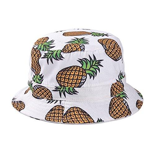 Kuyou Kuyou Damen Sonnenhut Fischerhut Ananas Sommer Kappe Hüte (Weiß)