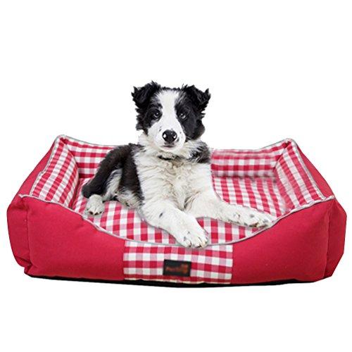 LvRao Haustier Haus Hundebett Katzenbett Kariert Hundekissen Gemütlich Weich Hundesofa Hundekorb Haustierbett (Rot, M: 65 * 50 * 18CM)