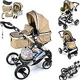 Daliya Bambimo 3 in 1 Kinderwagen - Kombikinderwagen Riesenset 14-Teilig incl. Babywanne & Buggy & Auto-Babyschale - Alu-Rahmen/Voll-Gummireifen - Wickeltasche/Regenschutz/Kindertisch in Khak