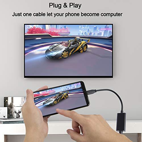 USB C auf HDMI 4K ,CableCreation 6 Ft Typ C (Thunderbolt 3 kompatibel) HDMI Kabel, Stecker auf Stecker, 4K@30HZ, MacBook Pro/iMac 2017 / Chromebook Pixel/Yoga 910 / Samsung S8 / S8 +, 1,8M Schwarz