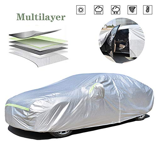 AOYMEI Full Car Cover Waterproof All Weather, Automobile Cover Sunproof Rainproof Windproof Scratch Resistant Reflective Strips Cotton Inside (Sedan, fit Length (182''-190''))