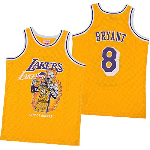 XMYM Kobe Lakers Basketball Jerseys for Men, 8# Vintage Cool Breathable Training Jersey, Great Material, Real Jersey, Yellow-M