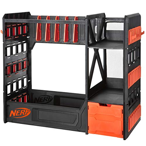 NERF Elite Blaster Rack - Storage for up to Six Blasters, Including Shelving and Drawers Accessories, Orange and Black - Amazon Exclusive