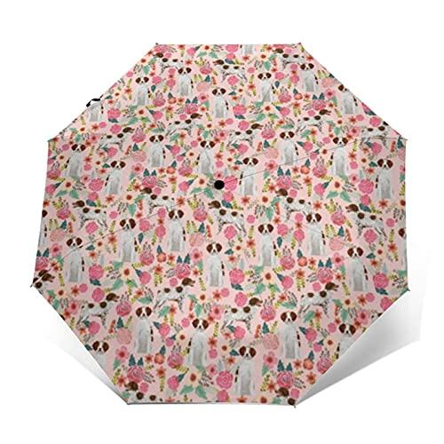 Reise-Regenschirm, winddicht, automatisches Öffnen und Schließen der Bretagne Spaniel, Hunde-Design, faltbar, klein, kompakt, für Sonne und Regen