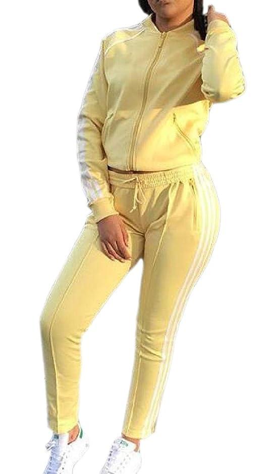 一族賛美歌進化女性のトラックスーツセットストライプジップジャケットとロングパンツ2ピースの衣装