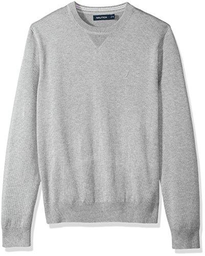 Nautica Men's Light Weight Crew Neck Solid Sweater, Grey Heather, Large