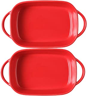 Mokpi Individual Ceramic Glaze Baking Dish Small Rectangular Casserole Baker for Oven Ovenware Bakeware Roasting Lasagna P...