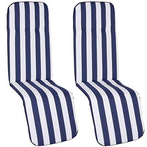 nxtbuy Auflage für Relaxliegen Capri 2er Set 175x48x5cm - Liegenauflage mit Komfortschaumkern und Bezug - Sitzpolster für Gartenliegen, Dessin:Blue & White