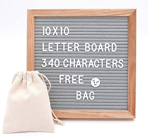 """HeartFelt Letter Board - 10x10 Inch Felt Board with 340 Letters, Numbers, Symbols & Emojis. Changeable Wooden Message Board Sign, Oak Wood Frame Wall Mount, Free Easel Stand and Canvas Bag (Grey (10"""" x 10""""))"""