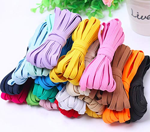 52 Yards Elastic Bands 16 Colors 1/4 Inch Colorful Elastics for Sewing Masks, Headbands, Hair Bands, Shorts Waist, Shoe Laces, Wigs, Bracelets, Crafts DIY Projects(16 Colors 3m per Color)