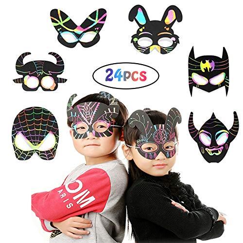 INTVN 24 Masken zum Bemalen Kinder Bastelset Einhorn Maske kindermasken Superhelden Masken Tiermasken zum Ausmalen mit Gummiband und Holzstift für Tierische Themen Partyzubehör
