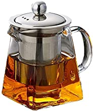 Runtodo Thickened Glass Teapot Heat Resistant Flower Tea Pot Bubble Tea Pot Steel Filter Teapot Square Pot Set 350Ml